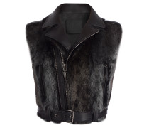 Black fur and leather vest AMELIA WINTER