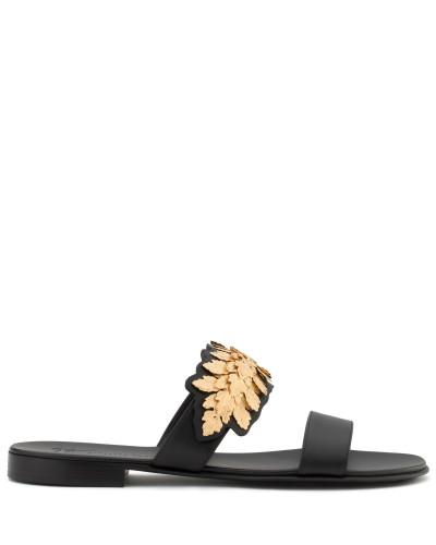 Giuseppe Zanotti Herren Black calfskin sandal with gold leaves LEAF