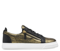 Black python-embossed leather low-top sneaker FRANKIE