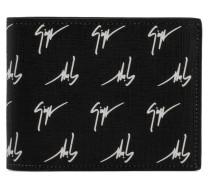 Black fabric wallet white signature motif THE SIGNATURE