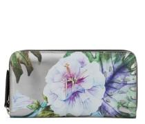 Silberfarbene Lackleder-Brieftasche mit Blumen-Druckmuster SPRING