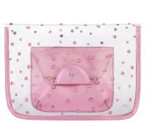 Transparent and pink Plexi clutch with logo CASSIDY