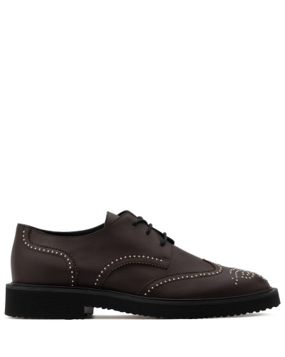 Brown calf leather shoes with gold studs embroidery ANDIE