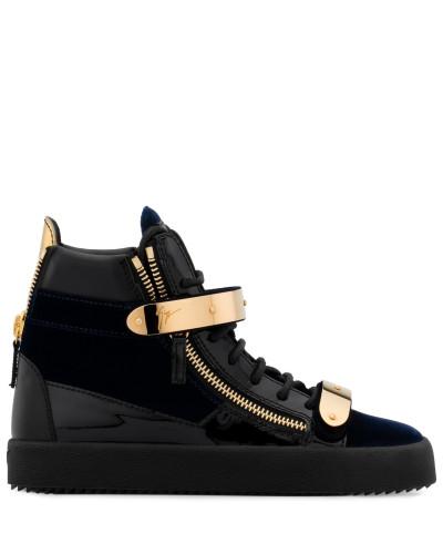 Dunkelblauer Samt- und Lackleder-Sneaker in hoher Ausführung COBY