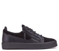 Black suede and calfskin low-top sneaker FRANKIE