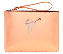 250x200 mm mirrored rose gold leather clutch MARGERY