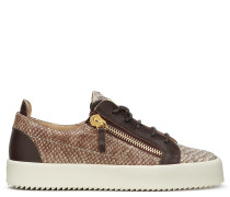Python-embossed calf leather low-top sneaker DEVON
