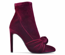 Burgundy velvet boot with bow OPHELIA