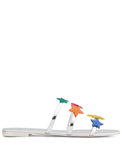 Giuseppe Zanotti Damen Silver patent leather sandal with multicolour stars ANYA STAR