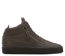 Brown calfskin leather sneaker with studs KRISS STUDS