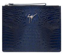 340x250 mm blue crocodile embossed calfskin leather pouch MARCEL