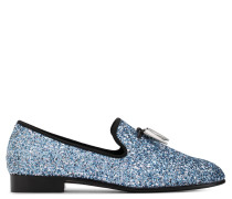 Fabric loafer with blue glitter SPACEY