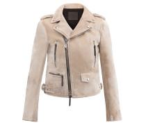 Pearl grey velvet motorcycle jacket AMELIA