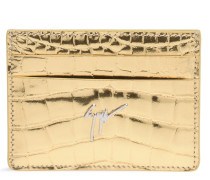 Gold crocodile-embossed calfskin cardholder MIKY
