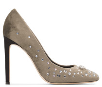 Grey velvet pump with crystals THE DAZZLING ANNETTE