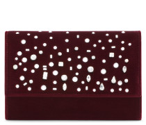 Burgundy velvet clutch with crystals THE DAZZLING KIMMY