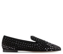 Black suede loafer with crystals LUCIEN