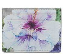 Silberfarbenes Lackleder-Kartenetui mit Blumen-Druckmuster SPRING