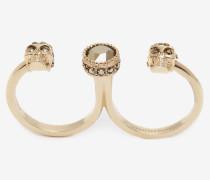 Ring mit zwei Mini-Skulls