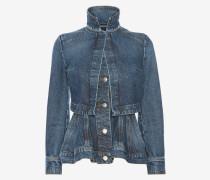 Denim-Jacke mit Schößchen und Vintage-Waschung