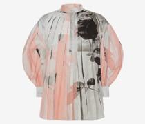 Popeline-Hemd mit Trompe-l'ail-Print