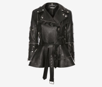 Gerüschte Biker-Jacke aus Leder