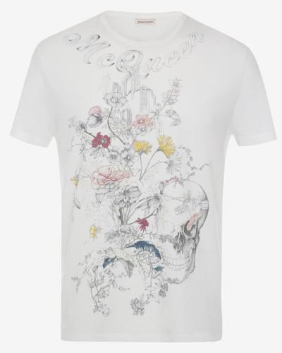 T-Shirt mit Skull und botanischen Mustern