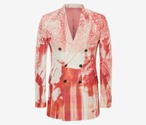 Zweireihige Jacke mit Trompe-l'ail-Print