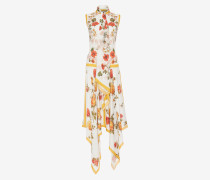 Ärmelloses Kleid mit Schal-Print