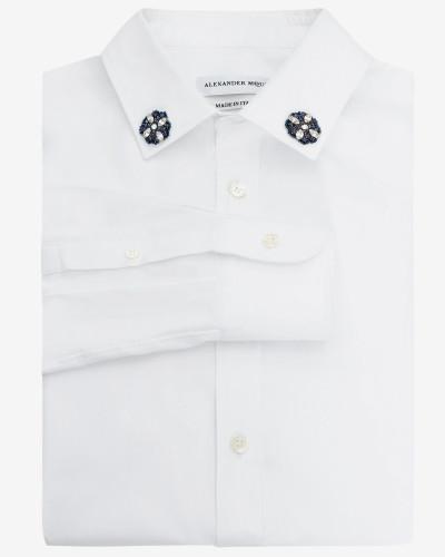 Baumwollhemd mit aufgestickten Kristallen