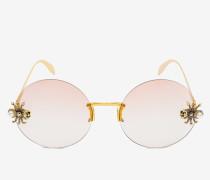 Runde Sonnenbrille mit schmuckverzierter Spinne