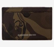 Kartenetui aus Leder mit Camouflage-Muster