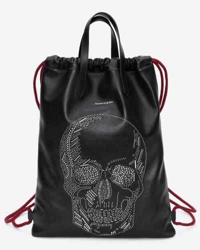 Rucksack mit Skull aus Nieten und Kordelzug