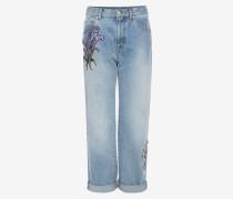 Bestickte Jeans im Boyfriend-Stil