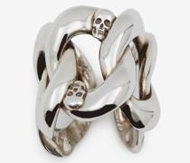 Ring mit Kettendesign und Skull-Detail