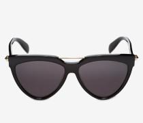 Sonnenbrille in Shield-Form mit Piercing-Detail