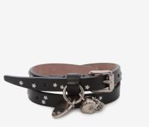 Doppeltes Wickelarmband mit silberfarbenen Nieten