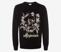 Sweatshirt Deconstructed Floral Skull