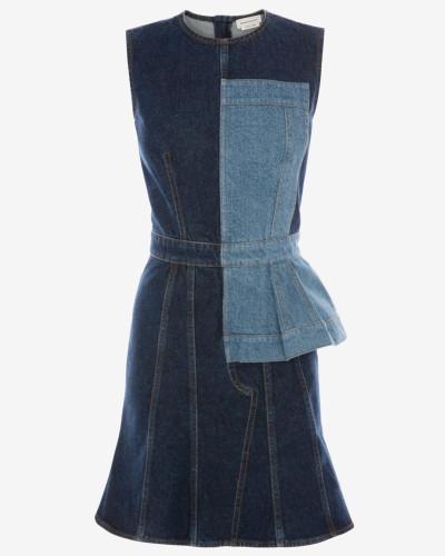 Minikleid aus zusammengesetztem Denim