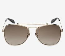 Eckige Sonnenbrille in Pilotenform mit Piercing-Detail