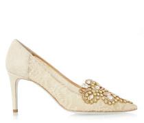 Decollete Pumps Gold Lace Multi Stones