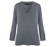 Basya V-Neck Pullover Grey Melange