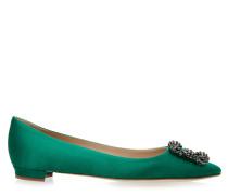 Hangisi Flat 10 Ballerinas Satin Green BLC