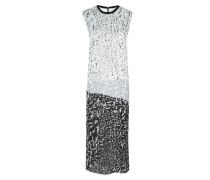 Seiden Kleid Black White Multi