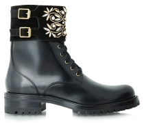 Biker Boots Black Calf Perals Stones