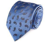 Seiden Krawatte Paisley Blau