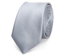Schmale Krawatte Seide Silber Grau