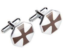 Manschettenknöpfe Eckig Kreuz Silber Braun