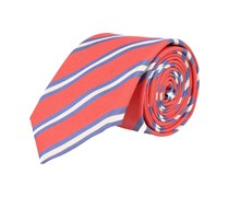 Krawatte Seide Rot - Blau-Weiss Gestreift