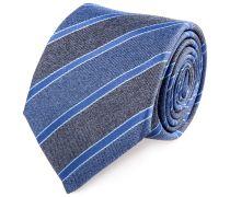 Seiden Krawatte Anthrazit Blau Gestreift